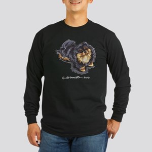 Black Tan Pomeranian Long Sleeve Dark T-Shirt