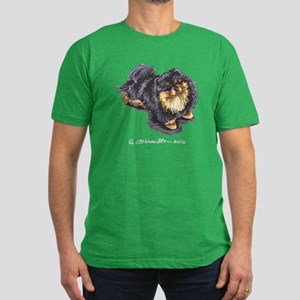 Black Tan Pomeranian Men's Fitted T-Shirt (dark)