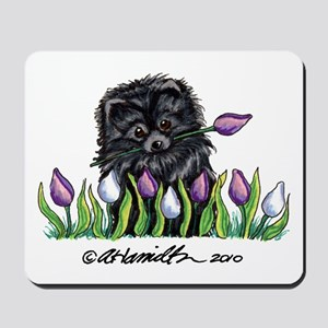 Black Pomeranian Tulips Mousepad