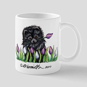 Black Pomeranian Tulips Mug