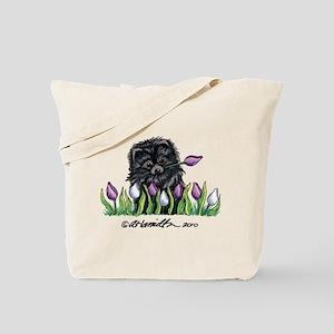 Black Pomeranian Tulips Tote Bag
