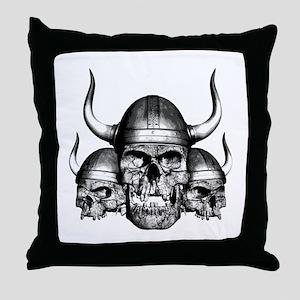 Viking Skulls Throw Pillow