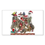 Xmas Meerkats Sticker (Rectangle 50 pk)