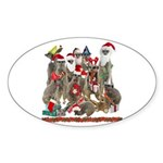 Xmas Meerkats Sticker (Oval 50 pk)
