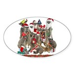 Xmas Meerkats Sticker (Oval 10 pk)