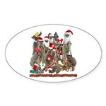 Xmas Meerkats Sticker (Oval)