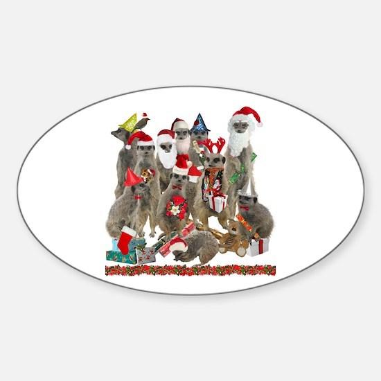 Xmas Meerkats Sticker (Oval)