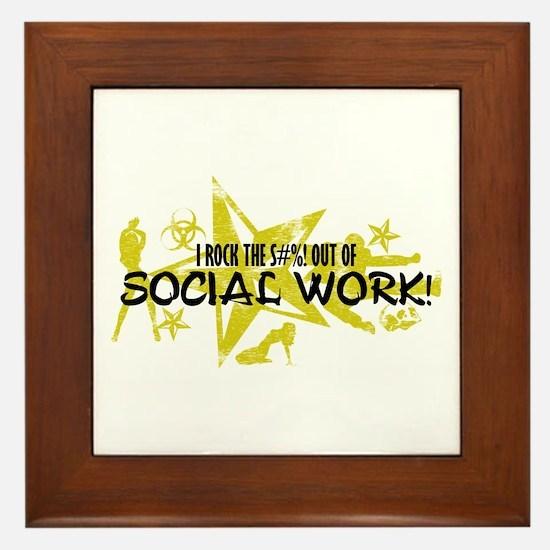 I ROCK THE S#%! - SOCIAL WORK Framed Tile