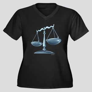 scale of justice Women's Plus Size V-Neck Dark T-S