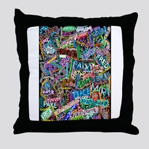 graffiti of the word peace tr Throw Pillow