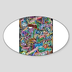 graffiti of the word peace tr Sticker (Oval)