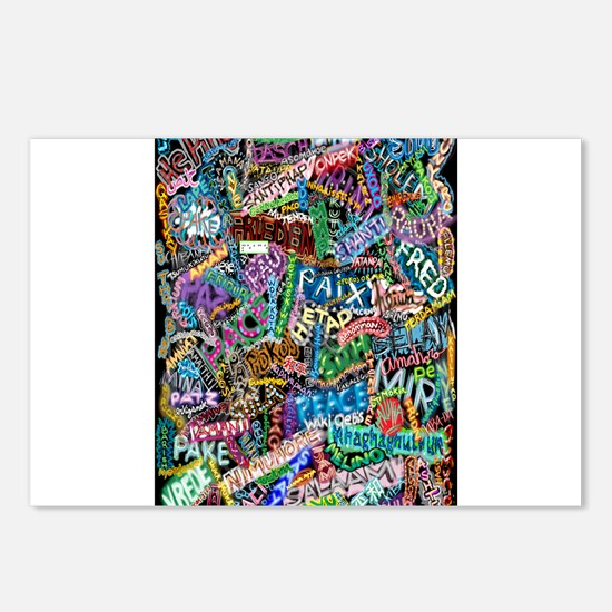 graffiti of the word peace tr Postcards (Package o