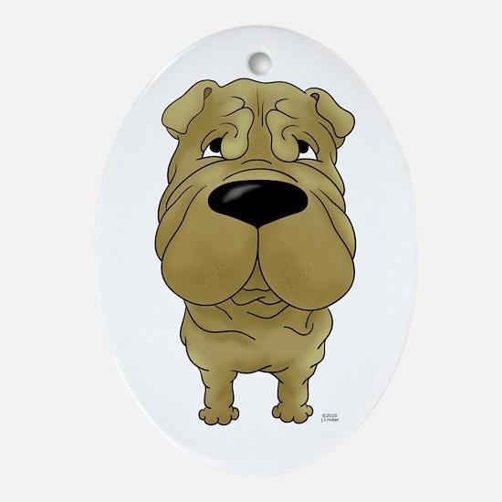 Big Nose Shar-Pei Ornament (Oval)