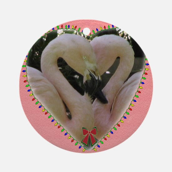Holiday flamingoes Ornament (Round)