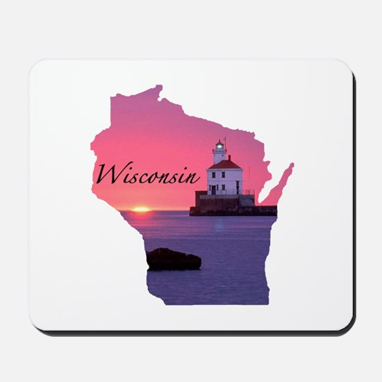 Wisconsin lighthouse Mousepad