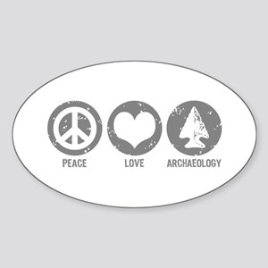 Peace Love Archaeology Sticker (Oval)