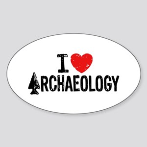 I Love Archaeology Sticker (Oval)
