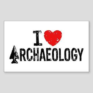 I Love Archaeology Sticker (Rectangle)