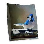 Blue Jay Burlap Throw Pillow