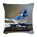 Blue Jay Woven Throw Pillow