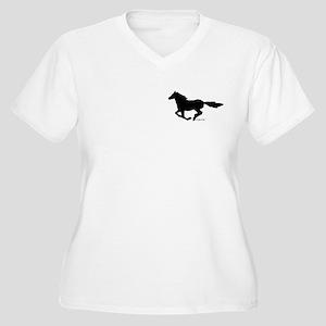 HORSE (black) Women's Plus Size V-Neck T-Shirt