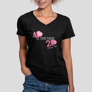 Heart 40 is the New 20 Women's V-Neck Dark T-Shirt