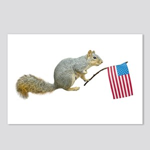 Squirrel with American Flag Postcards (Package of