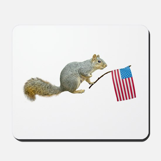 Squirrel with American Flag Mousepad