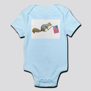 Squirrel with American Flag Infant Bodysuit