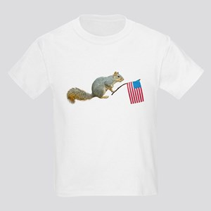 Squirrel with American Flag Kids Light T-Shirt
