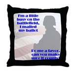 Soldier Votes Must Count Throw Pillow