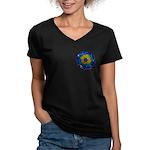 Flower Brooch 2 Women's V-Neck Dark T-Shirt