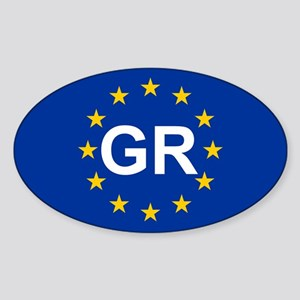 EU Greece Sticker (Oval)