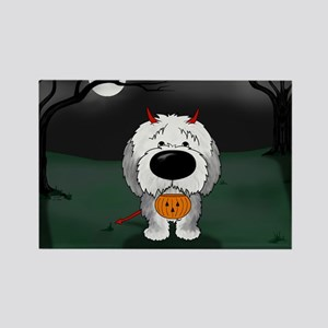 Sheepdog Devil Halloween Rectangle Magnet