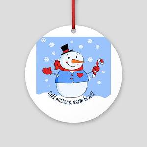 Cold Mittens Snowman Ornament (Round)