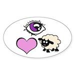 Eye Love Ewe Sticker (Oval 50 pk)