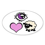 Eye Love Ewe Sticker (Oval 10 pk)