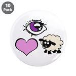 """Eye Love Ewe 3.5"""" Button (10 pack)"""