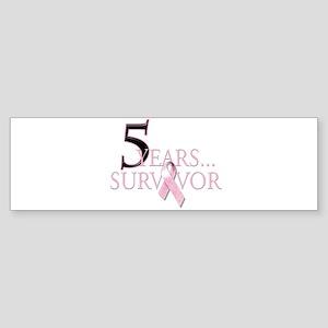 5 Years Breast Cancer Survivor Sticker (Bumper)