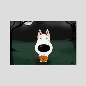 Bull Terrier Devil Halloween Rectangle Magnet