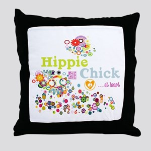 Hippie Chick at Heart Throw Pillow