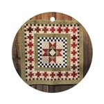 Hitching Post cloth quilt trail square Ornament (R