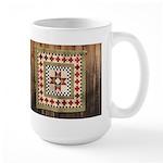 Hitching Post cloth quilt trail square Large Mug