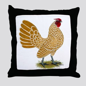 Sebright Buff-laced Rooster Throw Pillow