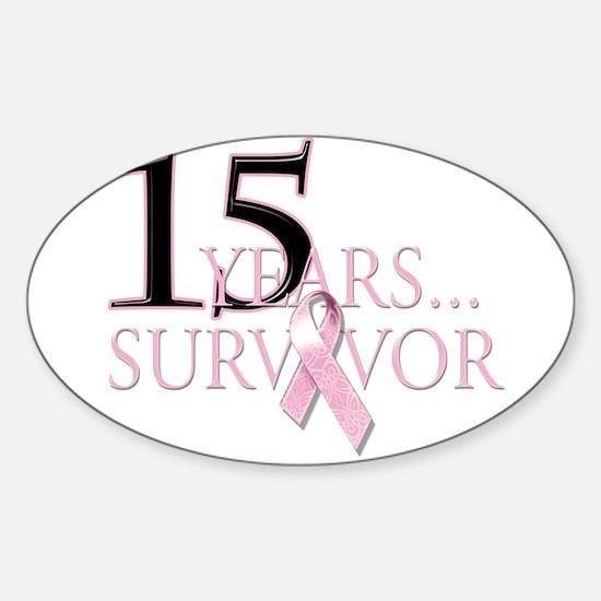 15 Year Breast Cancer Survivor Sticker (Oval)