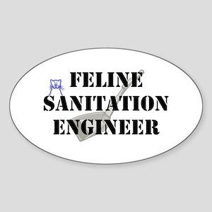 Feline Sanitation Engineer Sticker (Oval)