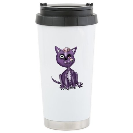 Purple Zombie Cat Stainless Steel Travel Mug
