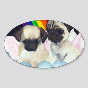Pug Angels Oval Sticker