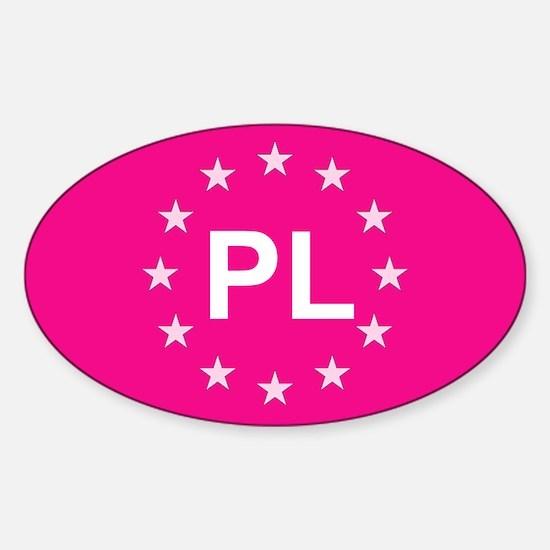 EU Pink Poland Sticker (Oval)