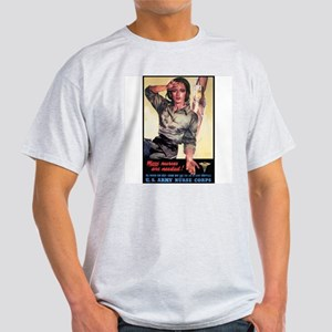 More Nurse Poster Art (Front) Ash Grey T-Shirt